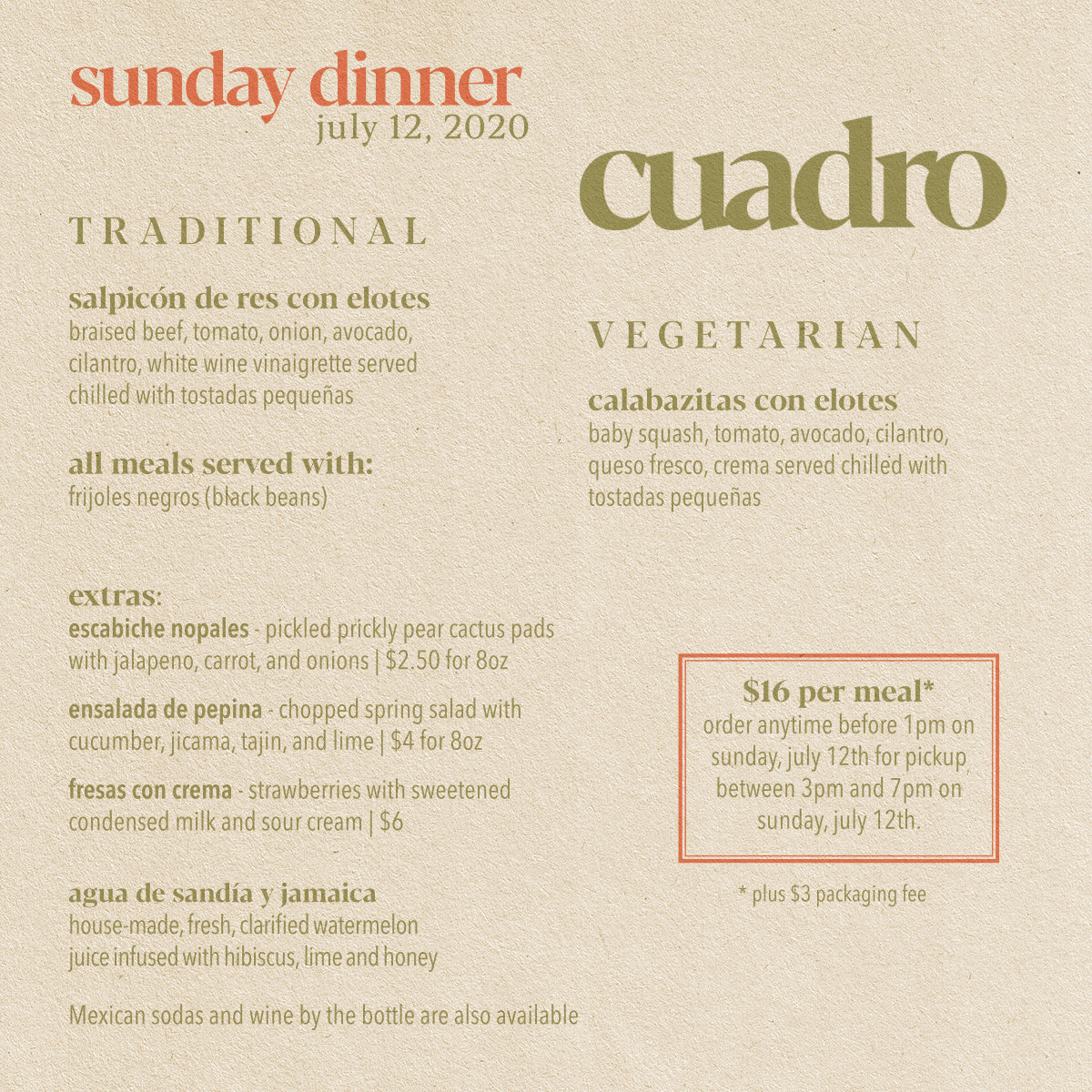 Cuadro Sunday Dinner July 12th