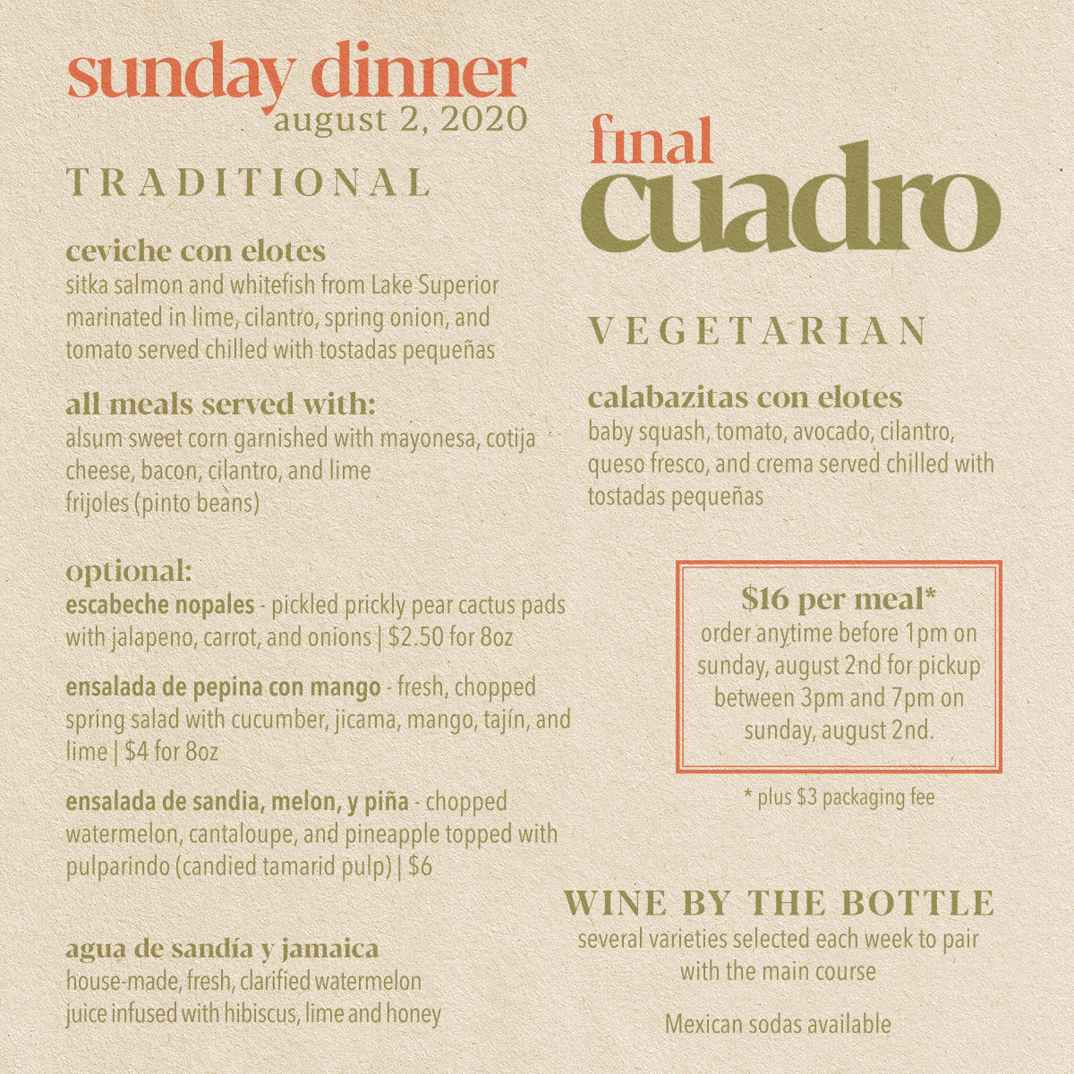 Cuadro Sunday Dinner August 2nd